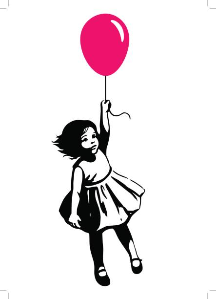 Little girl in summer dress floating on red balloon street art graffiti style Vector hand drawn black and white silhouette illustration of a cute little toddler girl in a summer dress floating in mid air, holding a pink red balloon. Street art stencil style design element street art stock illustrations