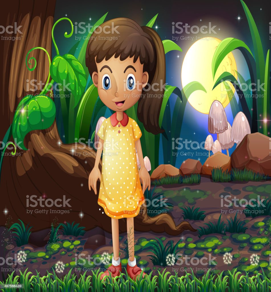 Little girl in the forest wearing a yellow dotted dress vector art illustration