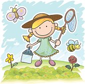 Little girl in the garden, catching butterfly, in colourful cartoon style