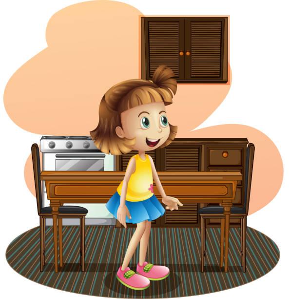 kleines mädchen in der küche, trägt eine blue rock - winkelküche stock-grafiken, -clipart, -cartoons und -symbole
