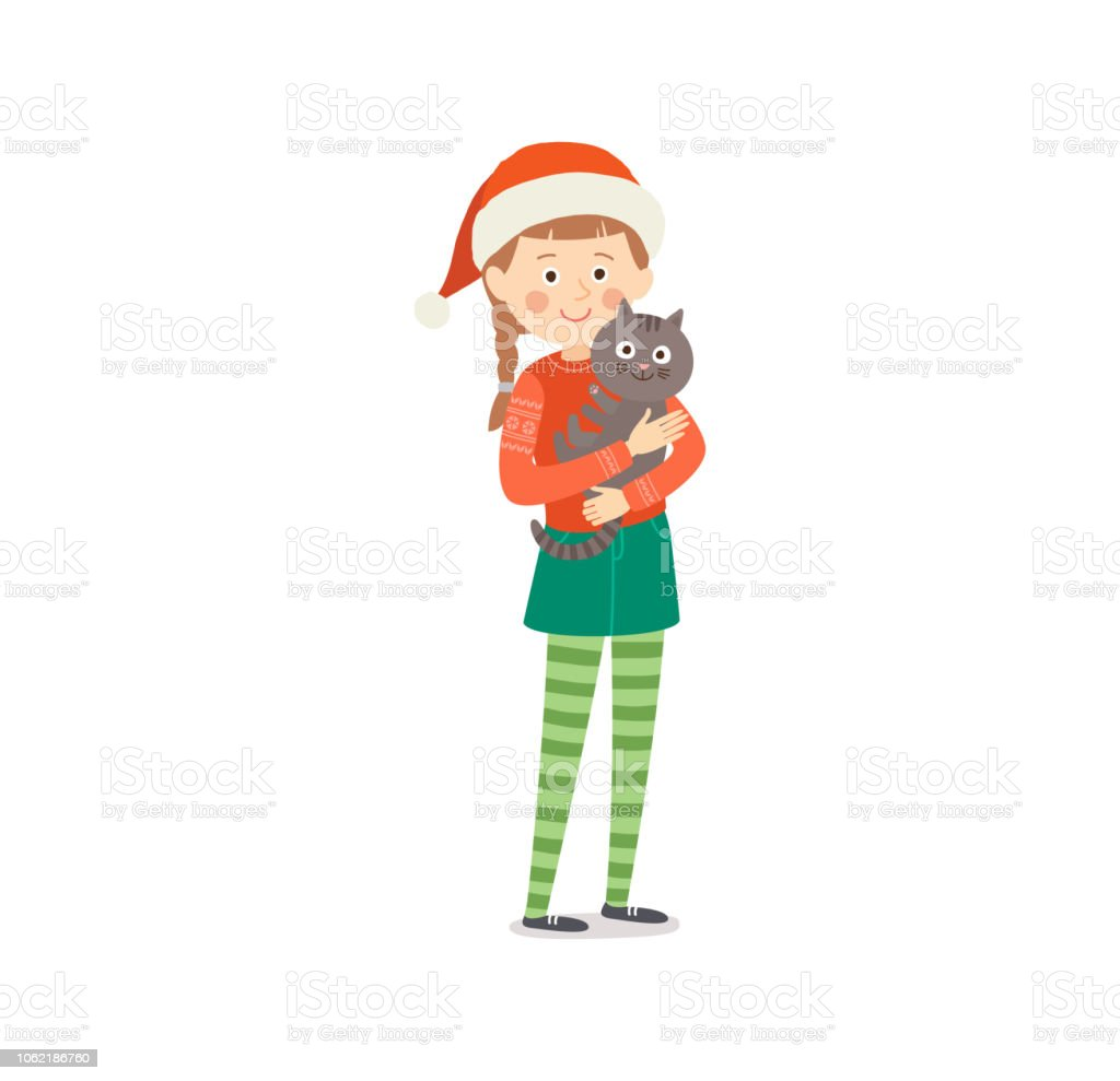 24684754e Little Girl In Traditional Christmas Clothes With Cute Cat Smiling ...