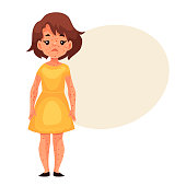 Little girl having chickenpox, cartoon style vector illustration isolated on white background. Cute brown haired girl in yellow dress with smallpox pimples, catching childhood desease