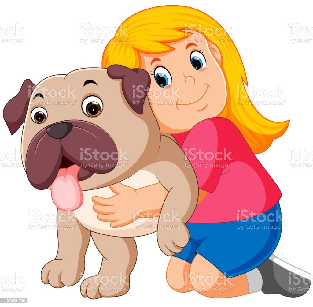 Ilustración de Niña Es Abrazando A Perro y más Vectores ...