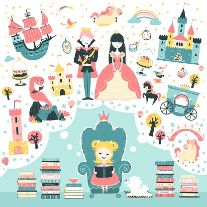 Little girl is reading a fairy tale book about a princess. A magical illustration about children s imagination. Vector concept in mulled scandinavian style