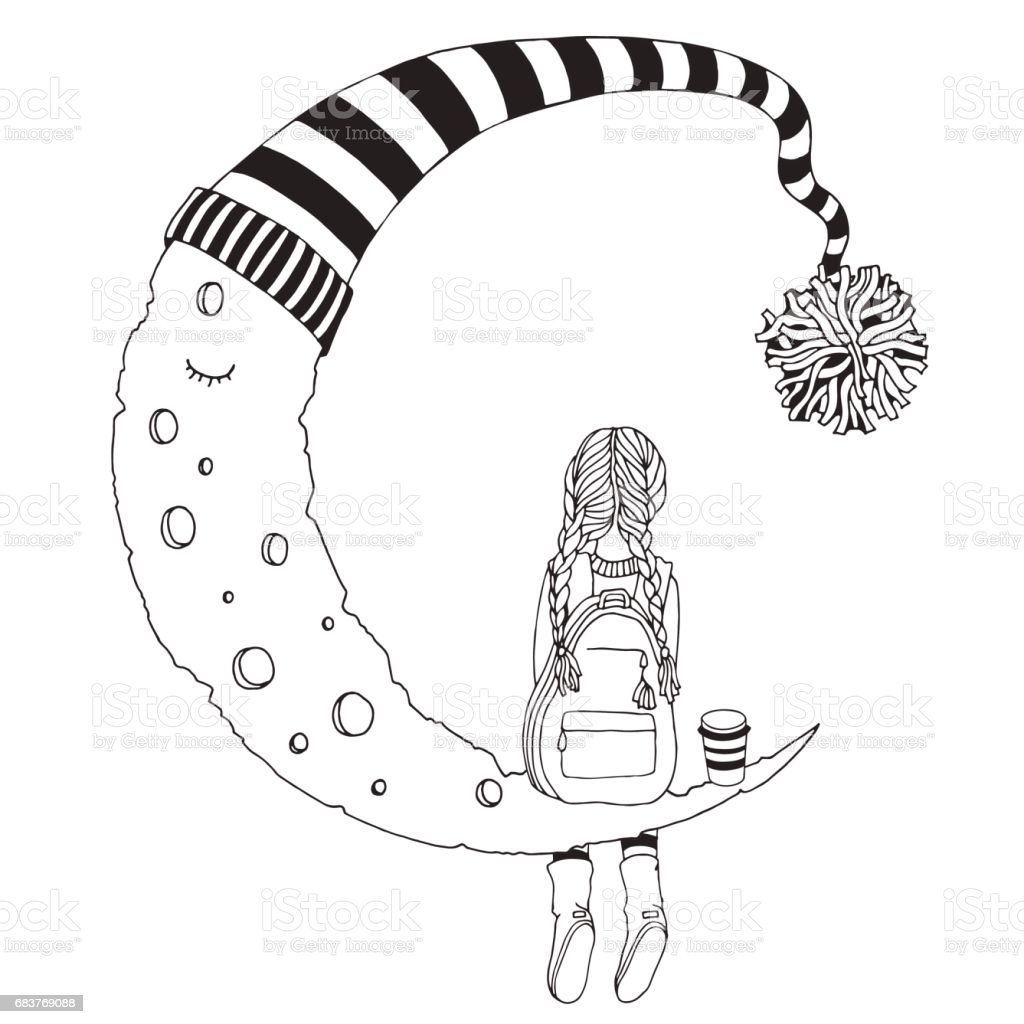 Küçük Kız Ayda Oturuyor Siyah Ve Beyaz Yetişkin Ve çocuklar Için