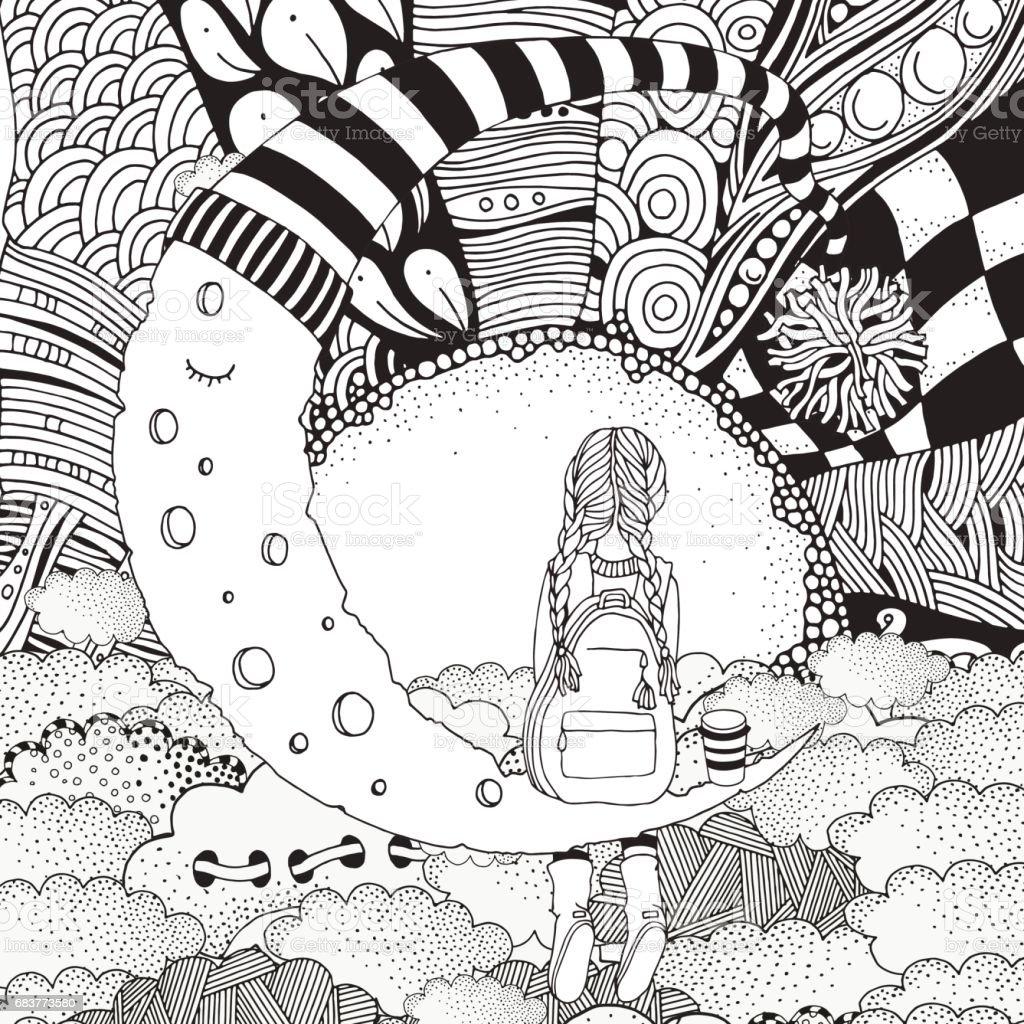 Kleines Mädchen Sitzt Auf Dem Mond Schwarz Und Weiß Buchmalvorlagen ...
