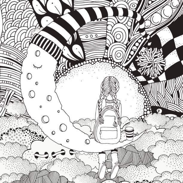 Little Girl Is Sitting On The Moon Black And White Coloring Book Page For