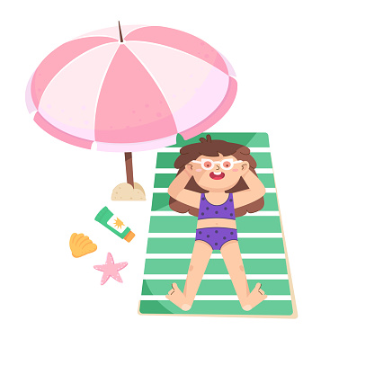 Little girl is sunbathing on the beach under a pink umbrella. Vacation at the sea, summer activity