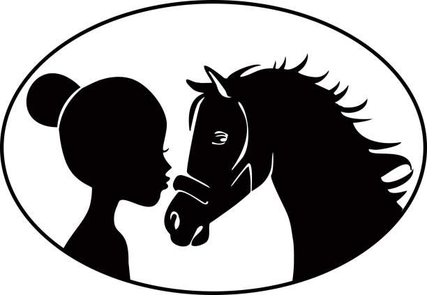Little girl kissing horse vector art illustration