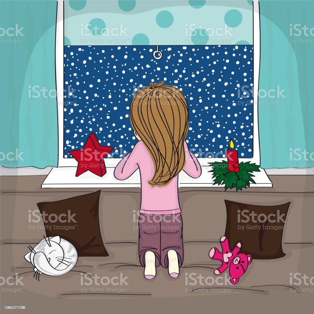 Kleines Mädchen Kniend Auf Dem Sofa Im Wohnzimmer Gemütlich Und Warm ...