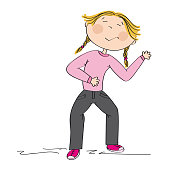Little girl laughing, probably offending someone, sneering and bullying or simply laughing loudly after hearing funny joke. Original hand drawn illustration.