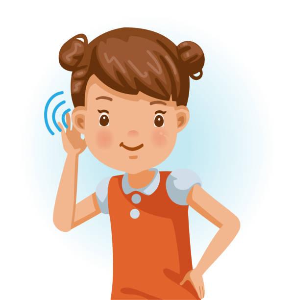 bildbanksillustrationer, clip art samt tecknat material och ikoner med liten flicka lyssnar - listen