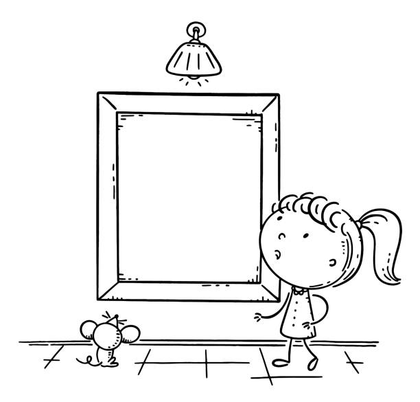 Little girl looking at the picture frame with a copy space for your design, outline vector illustration vector art illustration