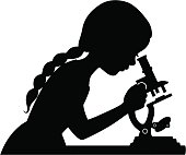 Vector illustration of a little girl looking through a microscope.