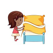Child making bed, cute kid, housework, chores,  happy cartoon character, female, vector illustration, isolated, white background