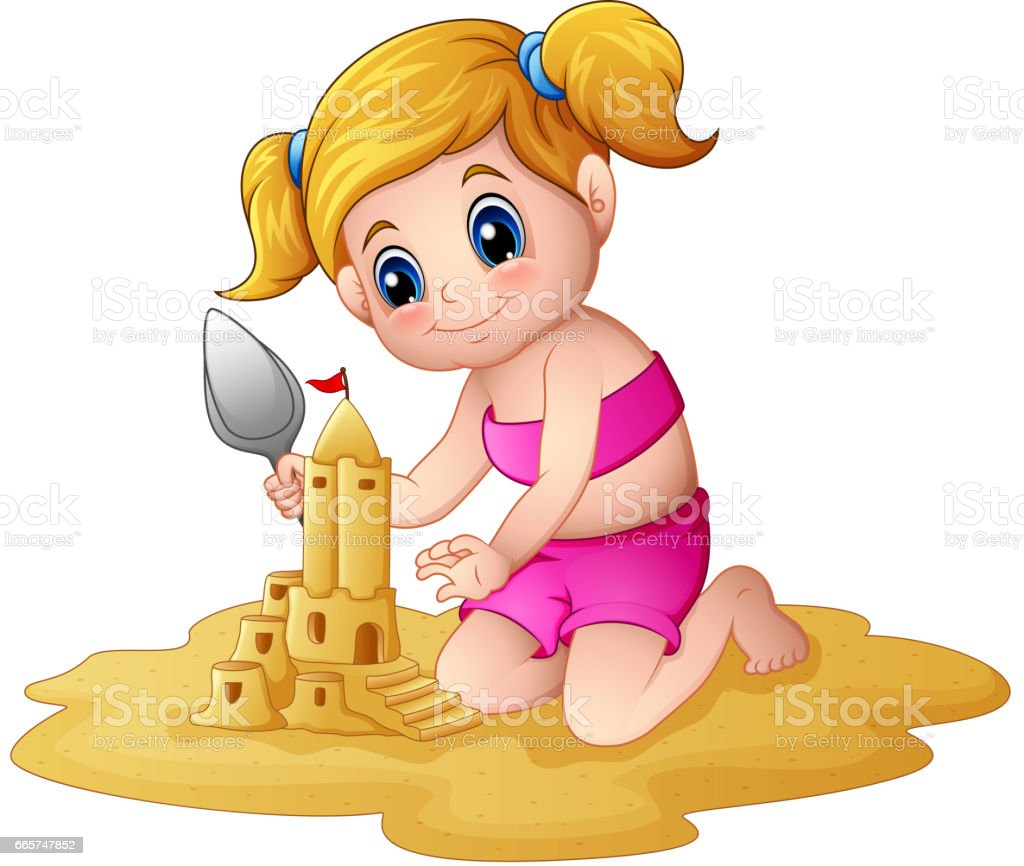Little girl making sandcastle at beach vector art illustration
