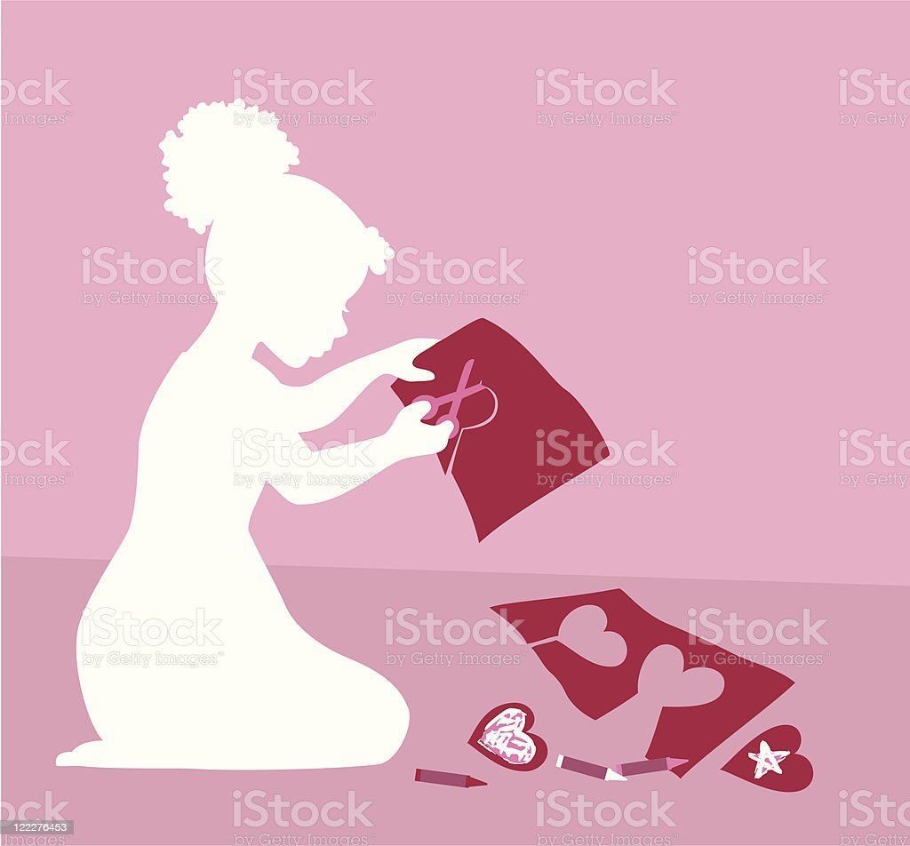 Little girl making Valentine's cards royalty-free little girl making valentines cards stock vector art & more images of african ethnicity