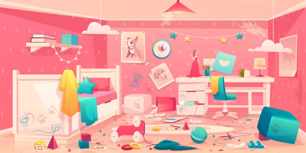 Little girl messy bedroom cartoon vector interior Messy bedroom of little girl with spider web on ceiling, scattered toys, clothes, pencils and crumpled paper, torn picture on dirty walls, drawn, stained table and floor cartoon vector illustration bedroom backgrounds stock illustrations