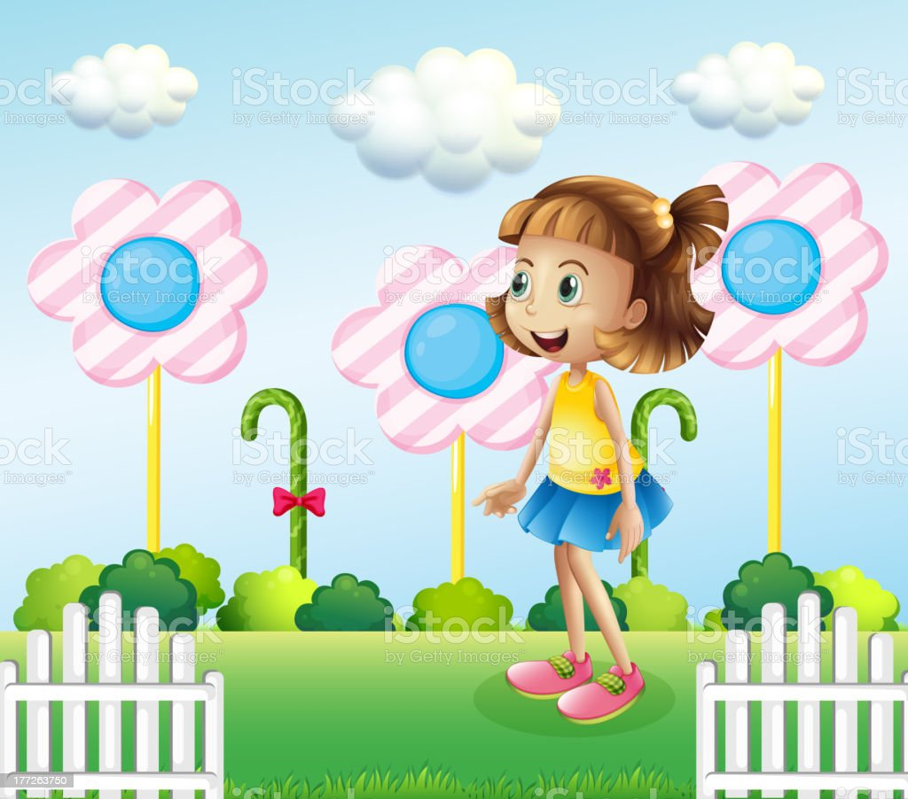 Little girl near the wooden fence with giant candies royalty-free stock vector art