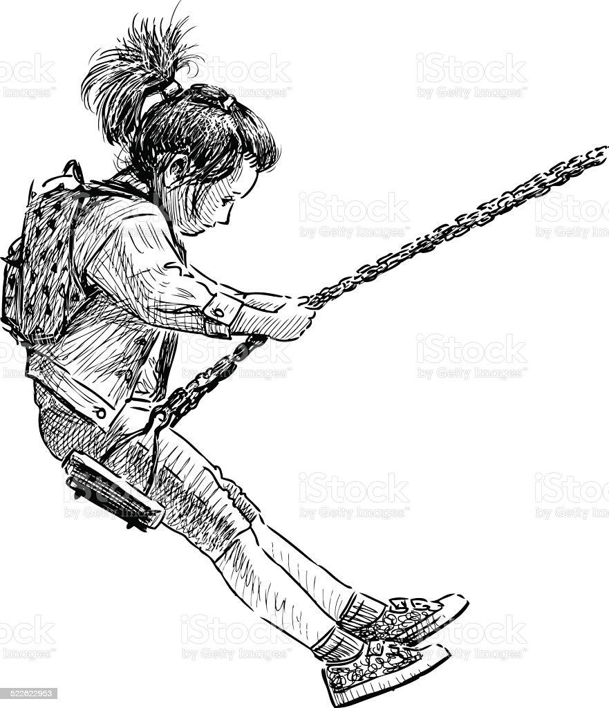 little girl on a swing vector art illustration