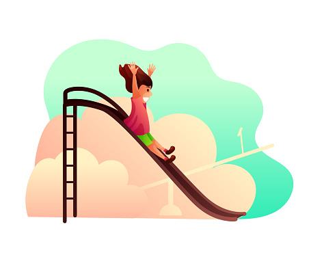 Little girl on children slide vector illustration
