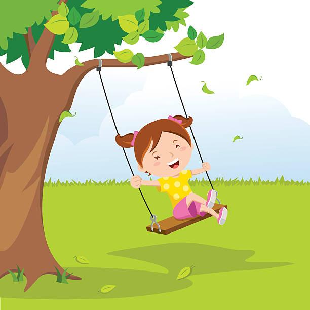 ilustrações de stock, clip art, desenhos animados e ícones de little girl on swing under a tree - balouço