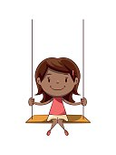 Child sitting on swing, cute kid, female, playing, happy cartoon character, vector illustration, isolated, white background