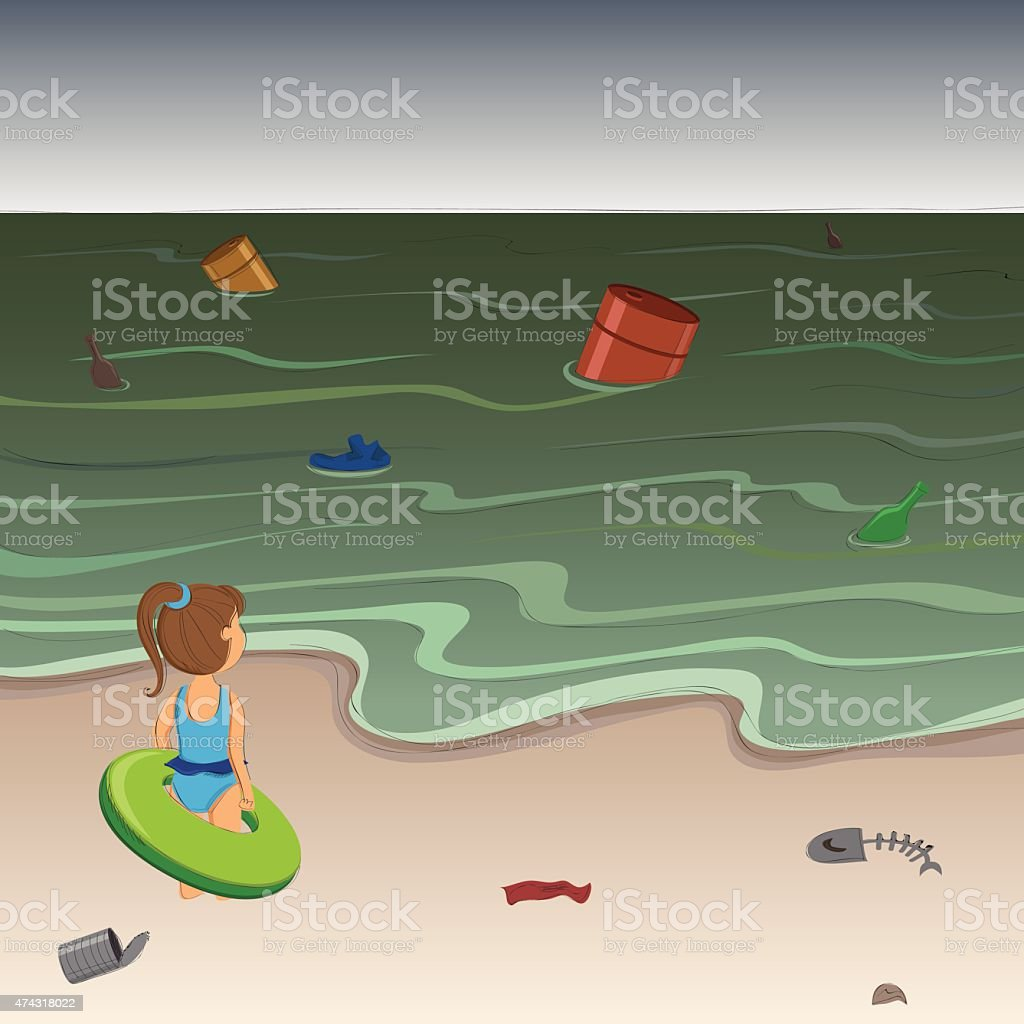 Little girl on the beach of a polluted sea vector art illustration