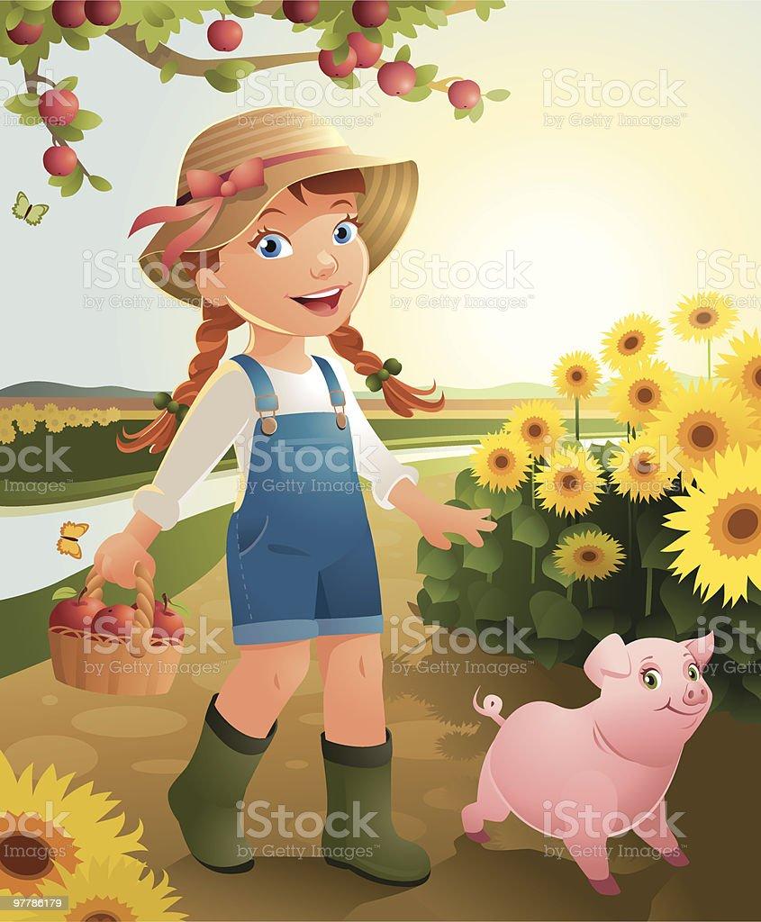 Little Girl on the farm royalty-free stock vector art