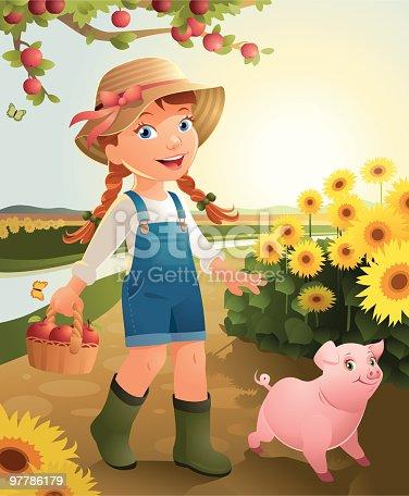 istock Little Girl on the farm 97786179