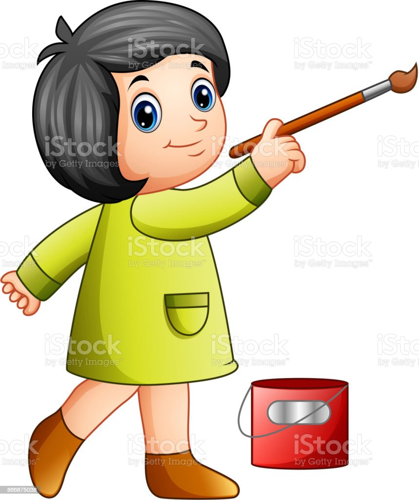 Little girl painting with paintbrush vector art illustration