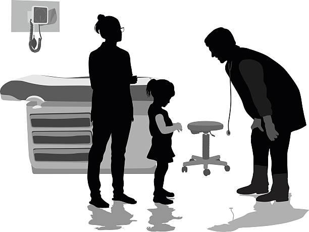 bildbanksillustrationer, clip art samt tecknat material och ikoner med little girl patient telling the pediatrician - parent talking to child
