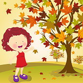 Little Girl Picking Leave in Autumn