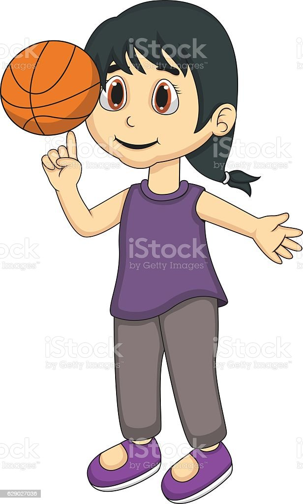 royalty free young girl dribbling basketball clip art vector images rh istockphoto com Girl Shooting Basketball Basketball Silhouette Clip Art