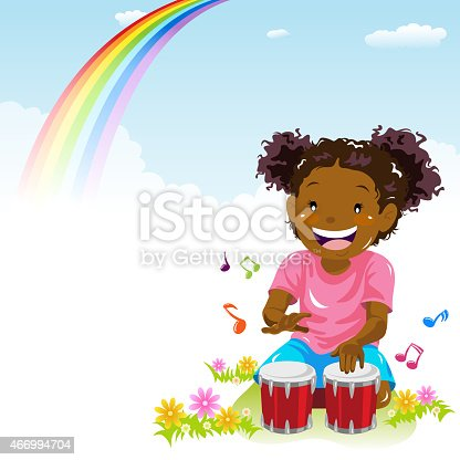 istock Little Girl Playing Bongo in Spring 466994704