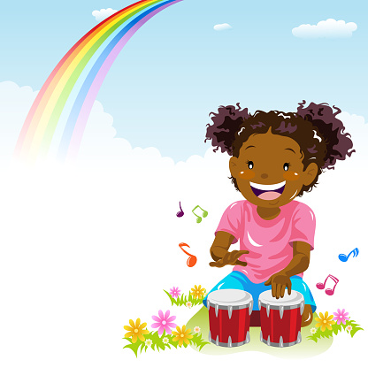 Little Girl Playing Bongo in Spring