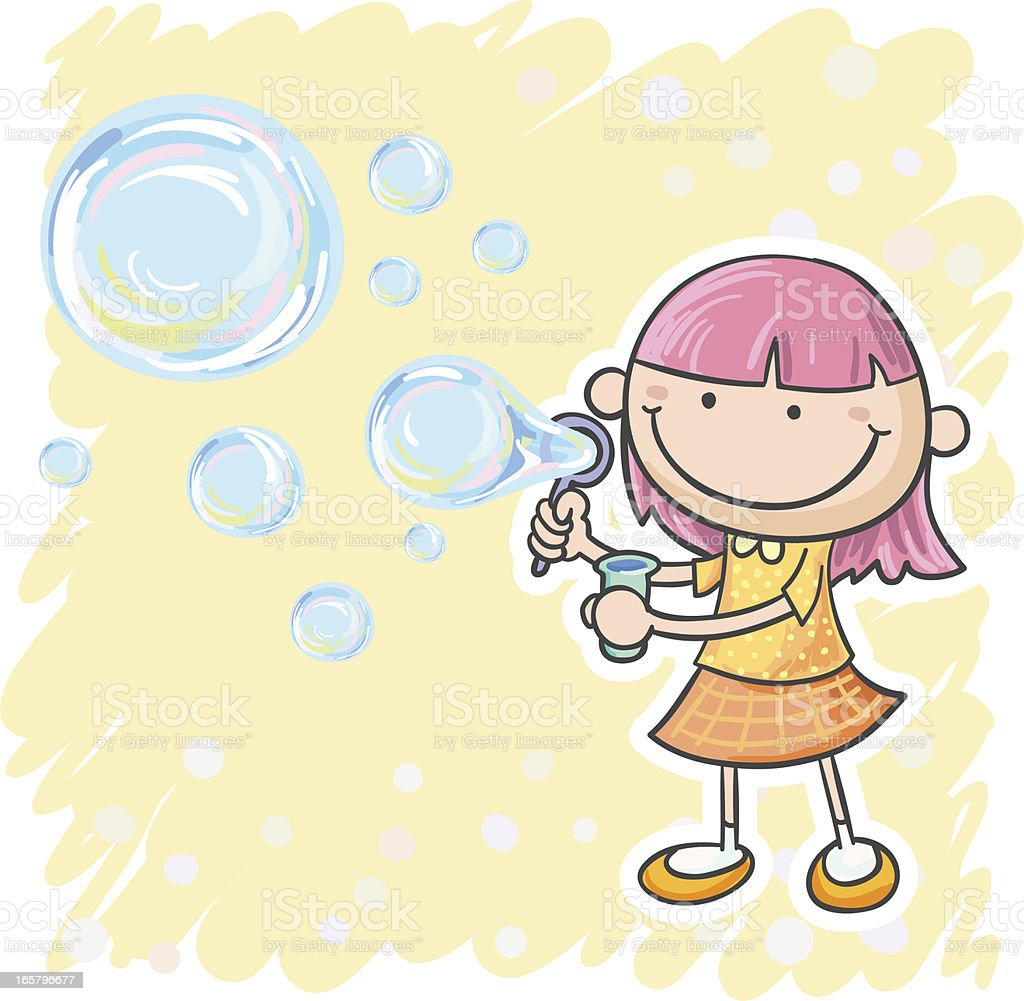 Little girl playing bubbles vector art illustration