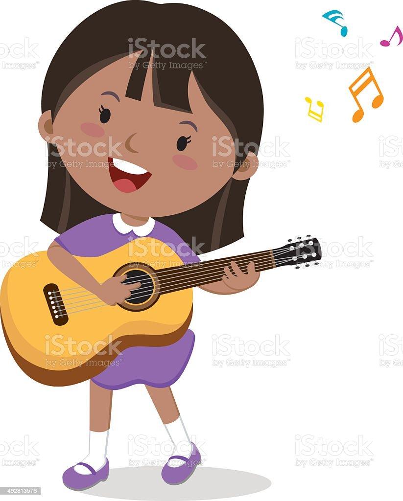Little girl playing guitar vector art illustration