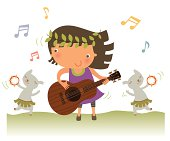Little girl playing guitar with her pets. Zip contains AI, PDF and JPEG formats.