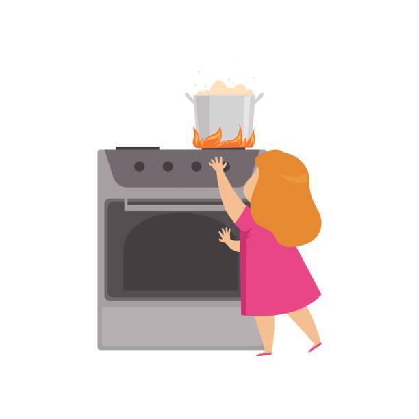 stockillustraties, clipart, cartoons en iconen met meisje spelen in de keuken met hete pan, kind in gevaarlijke situatie vector illustratie op een witte achtergrond - alarm, home,