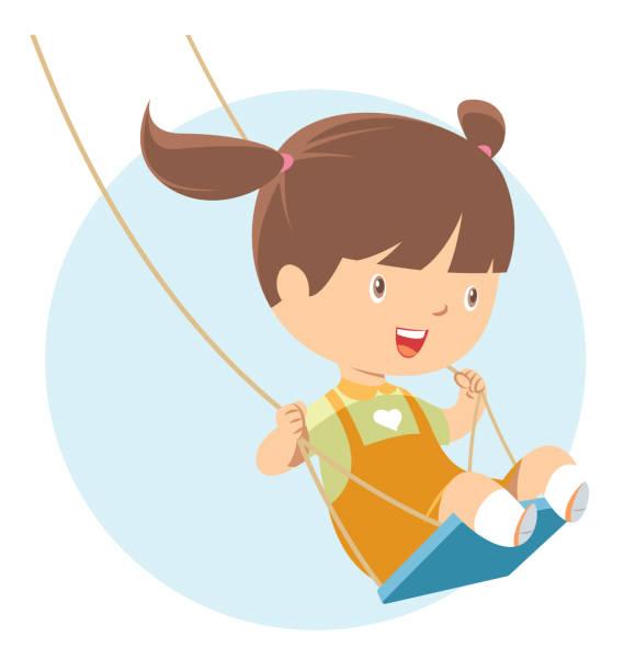 kleine mädchen spielen auf schaukel - kind schaukel stock-grafiken, -clipart, -cartoons und -symbole