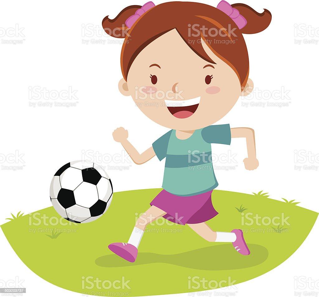 Little girl playing soccer vector art illustration