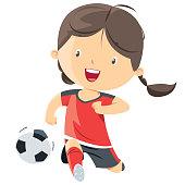 Vector Little girl playing soccer