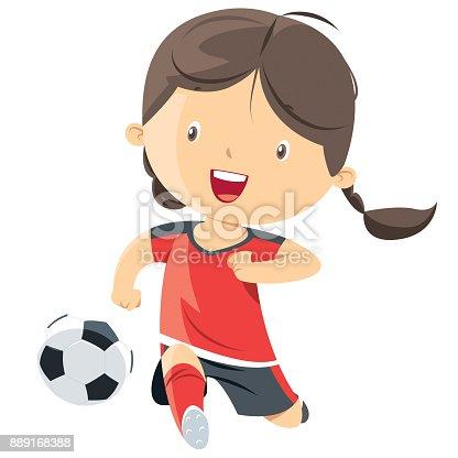 istock Little girl playing soccer 889168388