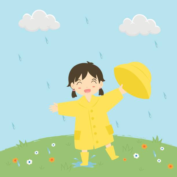 little girl playing under the rain vector illustration - kids playing in rain stock illustrations, clip art, cartoons, & icons