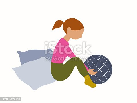 istock Little girl playing with globe 1281235975