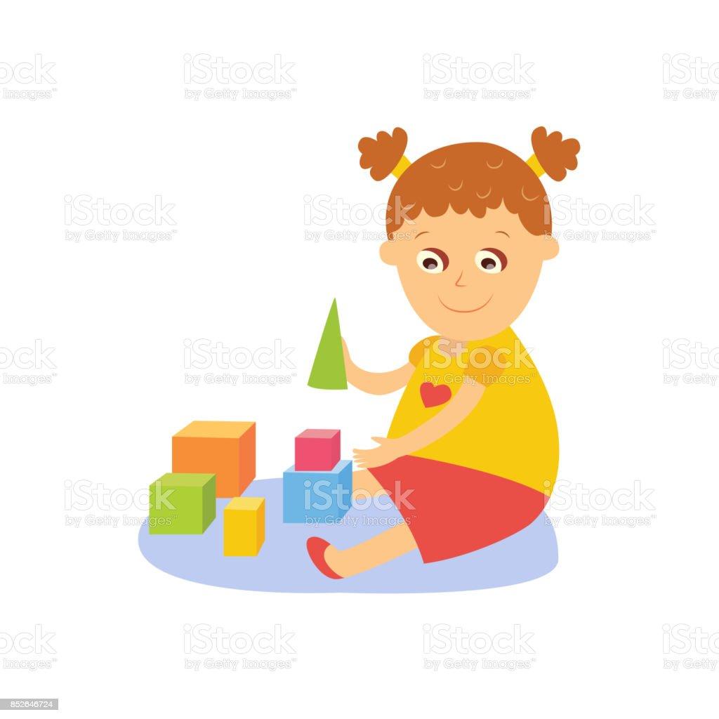Niña jugando con bloques de madera - ilustración de arte vectorial