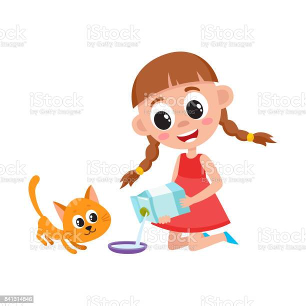 Little girl pouring milk into bowl feeding cat vector id841314846?b=1&k=6&m=841314846&s=612x612&h=t2vsco vvuijd7ru r3ax4sc39umpudnpefmbyjjm6a=