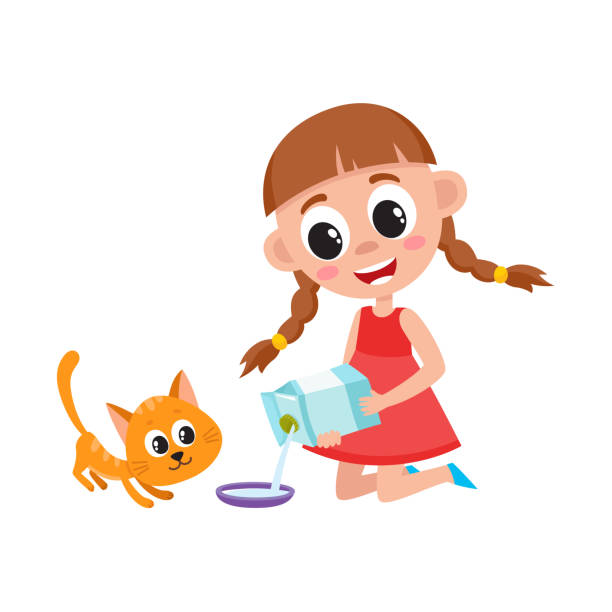 Top 60 Feeding Cat Clip Art, Vector Graphics and ...