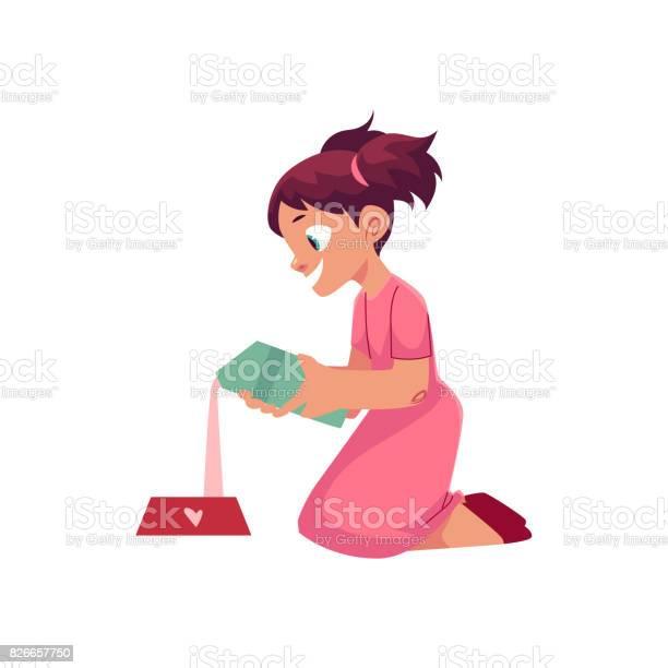 Little girl pouring milk into pet bowl vector id826657750?b=1&k=6&m=826657750&s=612x612&h=bbbnkmwdyajlwstokmkqs1ppm37gfelm3v0vwpwatjo=